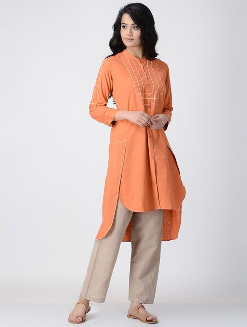 Orange Mandarin Collar Handwoven Khadi Cotton Kurta with Asymmetrical Hem