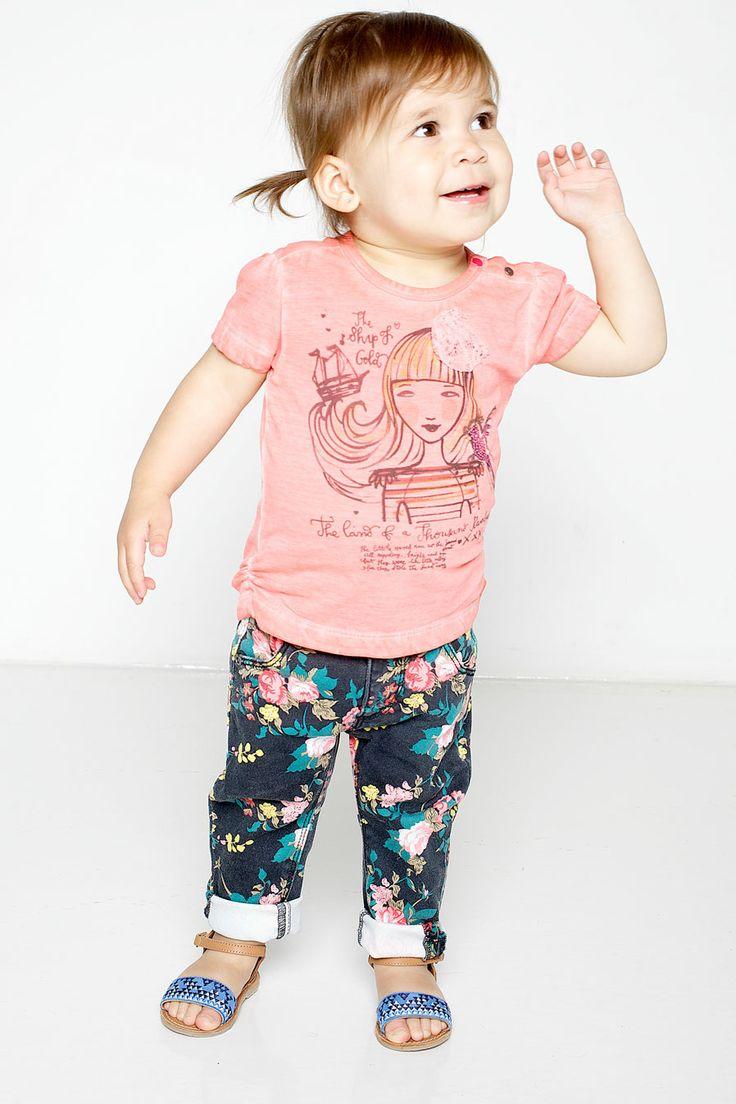 Babykleding Tumble N Dry Zomer 2014 | Coole bloemenprint spijkerbroek | babygirl | www.kienk.nl