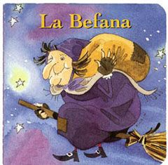 In the Italian folklore, Befana is an old woman who delivers gifts to children throughout Italy on Epiphany Eve (the night of January 5) in a similar way to Santa Claus. She is usually portrayed as an old lady riding a broomstick through the air wearing a black shawl and is covered in soot because she enters the children's houses through the chimney. She is often smiling and carries a bag or hamper filled with candy& gifts.