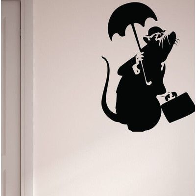 "Style and Apply Banksy Drowned Rat Wall Decal Color: Golden Yellow, Size: 54"" H x 39"" W"