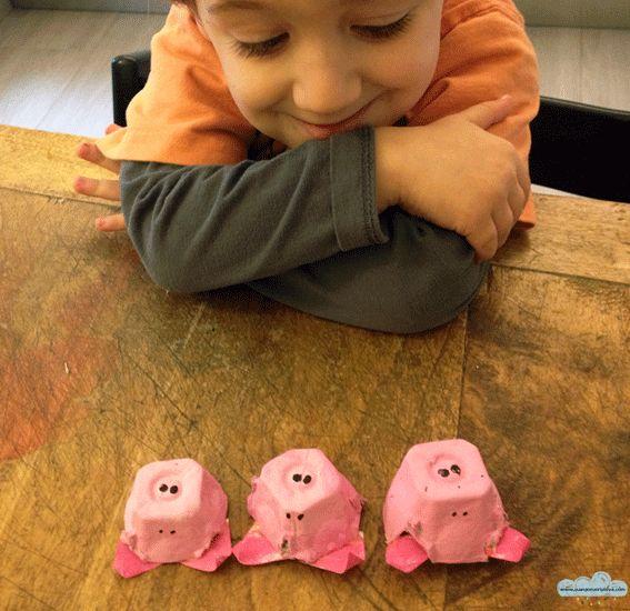 I tre porcellini si gioca riciclando il cartone delle