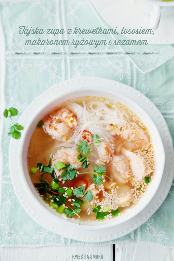 Thai soup with shrimp, salmon, rice noodles and sesame seeds
