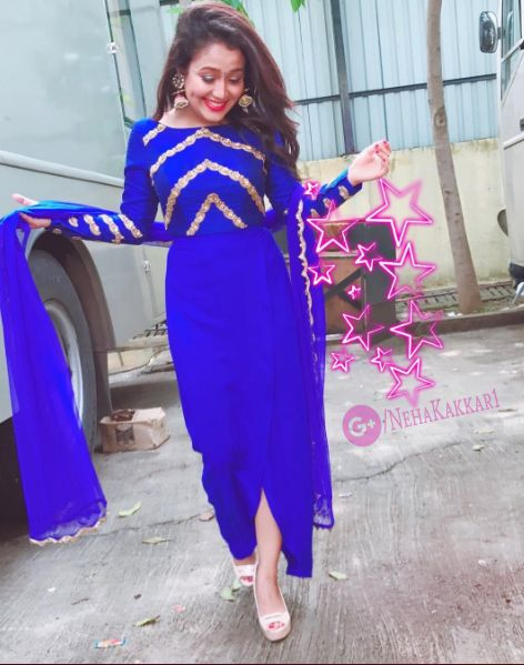 Beautiful Hot Neha Kakkar In Blue Dress