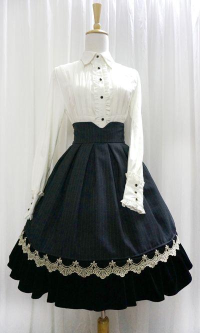 Elegant Stripes Golden Edge High-waist skirt (2014) by Little-Dipper (Taobao)