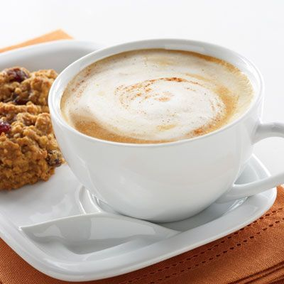 Enjoy this coffeehouse-style Pick-Me-Up Pumpkin Latte drink anytime.  Pumpkin melts right into the coffee and adds body and natural flavor.  Creamy fat free evaporated milk adds richness and calcium, without adding extra fat.  This is a great satisfying specialty beverage for all year round.