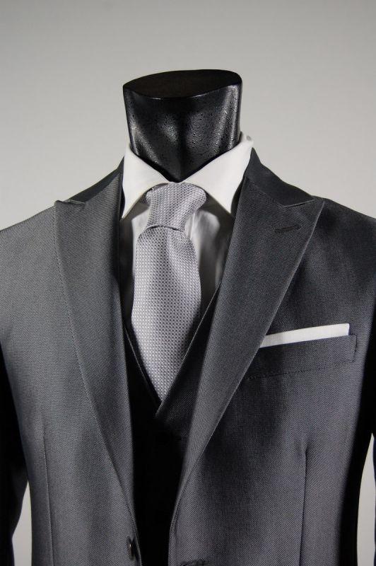 Elegant dress with waistcoat roveraia glossy grey slim fit