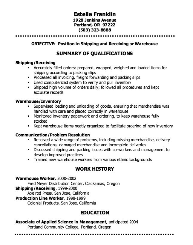 Warehouse Resume Sample - http\/\/resumesdesign\/warehouse - resume sample for warehouse worker