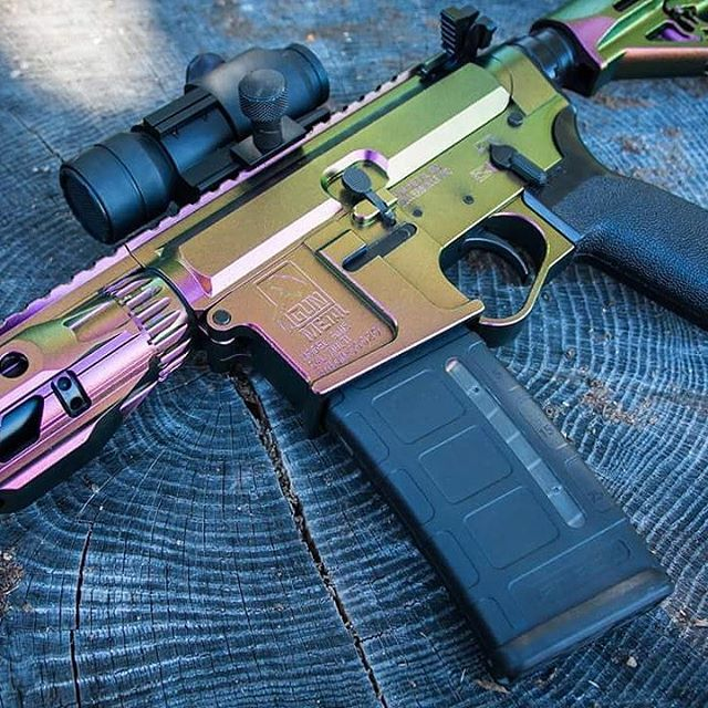 Looking for something on the wild side? Check out Razorback, shown on this AR mixed into Cerakote  #guncandy #ar15 #chameleon #cerakote #duracoat #customcolor #guns #follow #custom