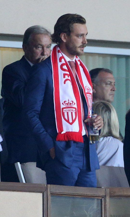 Princess Caroline's son Pierre Casiraghi had his eyes on the game during the UEFA Champions League soccer match between AS Monaco and FC Porto at Stade Louis II on September 26 in Monaco.