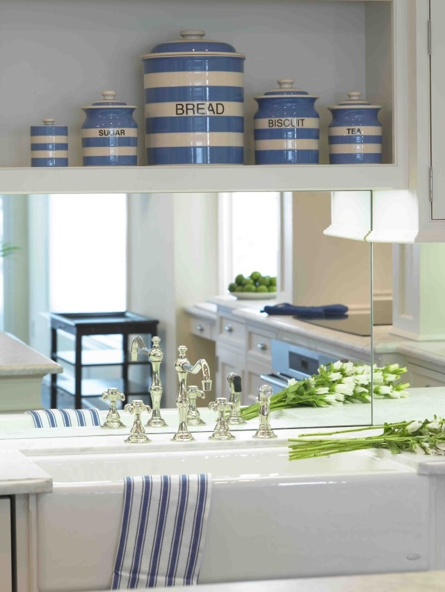 White and Blue Coastal Kitchen