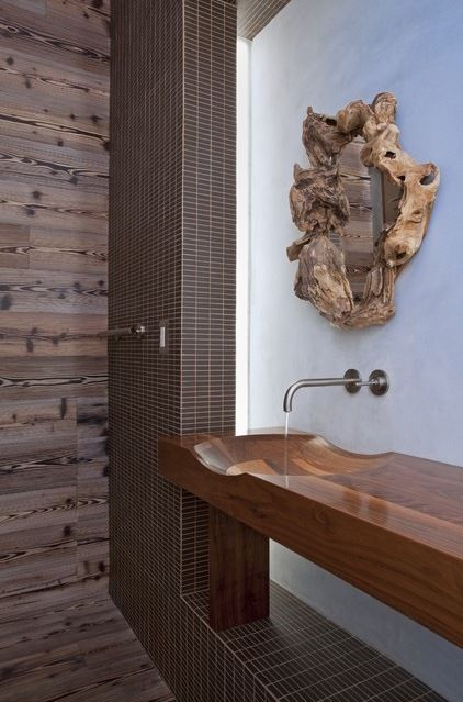 Modern Bathroom by DuChateau Floors - check out that wood sink and counter, beautiful design.