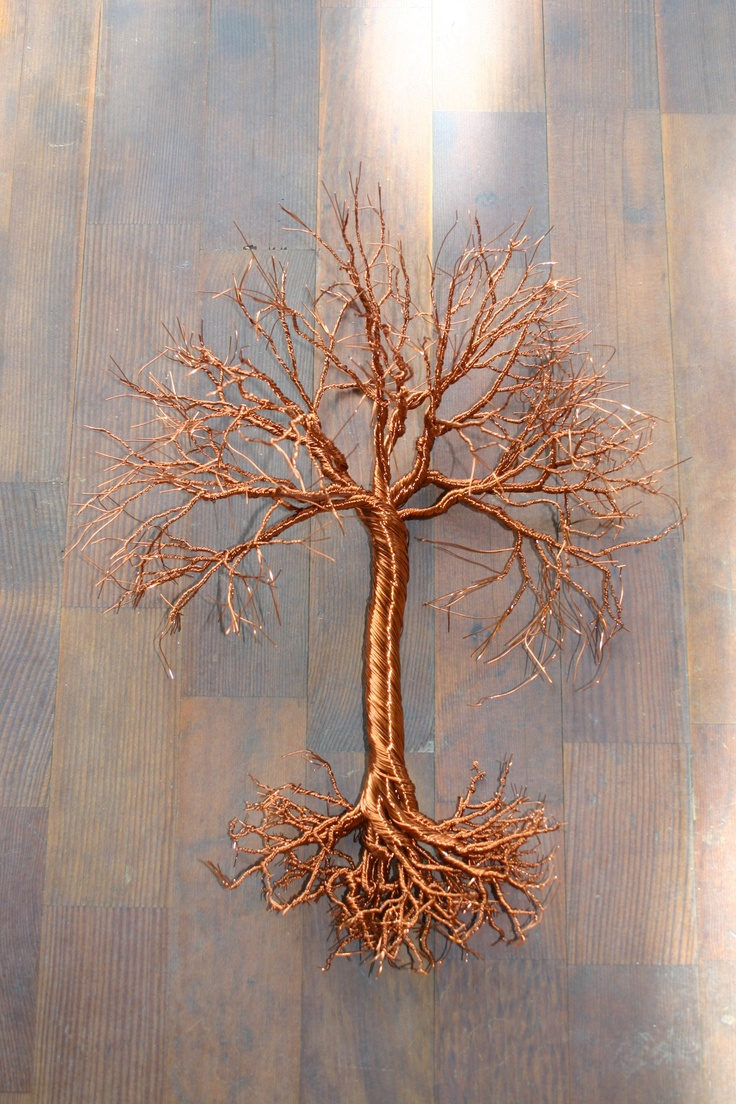 "Large 15"" hanging, copper wire tree art. Great for autumn decor! www.Facebook.com/TwistedForest www.Etsy.com/shop/TwistedForest"