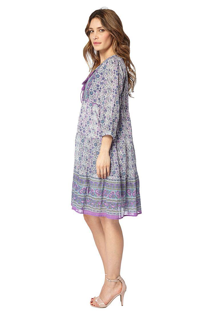 Kampania Palme / 17755 / Sukienki / Sukienki wzorzyste z rękawem / Sukienka Fioletowa