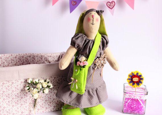 Tilda bunny rabbits with a bag Girl toys Stuffed by TildaArt