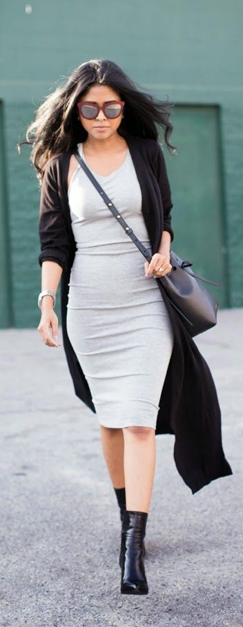 Black Duster Cardigan + Grey Sweater Dress