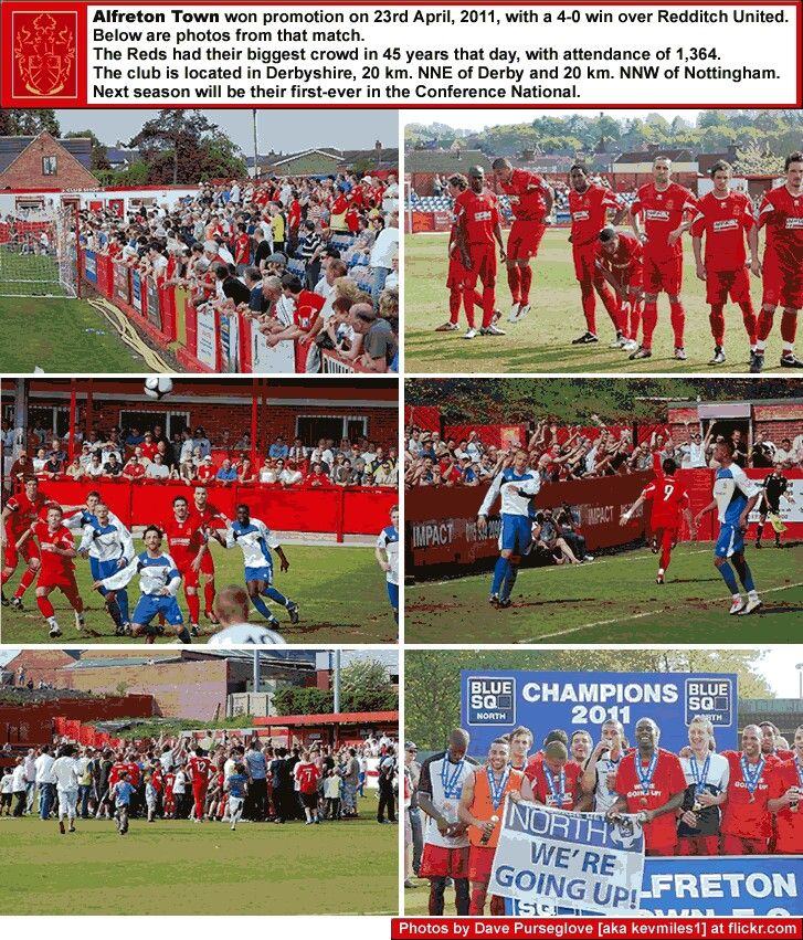 Alfreton Town 4 Redditch Utd 0 in April 2011 at North Street. Action from the Blue Square North Division. Alfreton gain promotion.