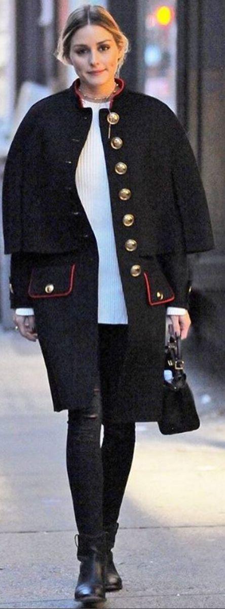 Olivia Palermo: Coat – Burberry  Necklace – Adornmonde  Sweater – Bishop + Young  Purse – Fendi  Shoes Isabel Marant