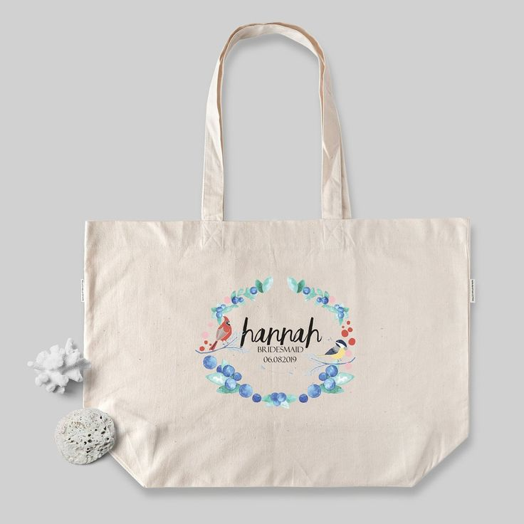 Birds & Berries Bridesmaid or Bride Tote Bag – Personalised Wedding Tote Bags – Wedding Birds, Boho Wedding // Luxury Egyptian Cotton