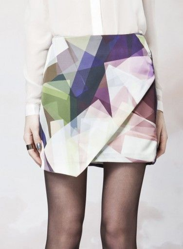 Love this skirt--an example of fragmented geometrics showing up in fashion