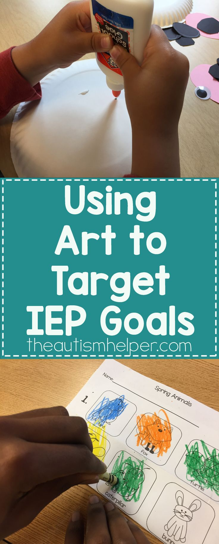 Let's continue generalizing those skills your students have worked so hard on all year with another creative outlet - ART! Join in our discussion of the MANY ways art helps target IEP goals & more on the blog!! From theautismhelper.com #theautismhelper