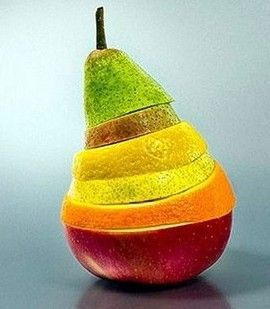 Food art - colorful!  Apple, Orange, Pear, Lemon, ?!, Pear