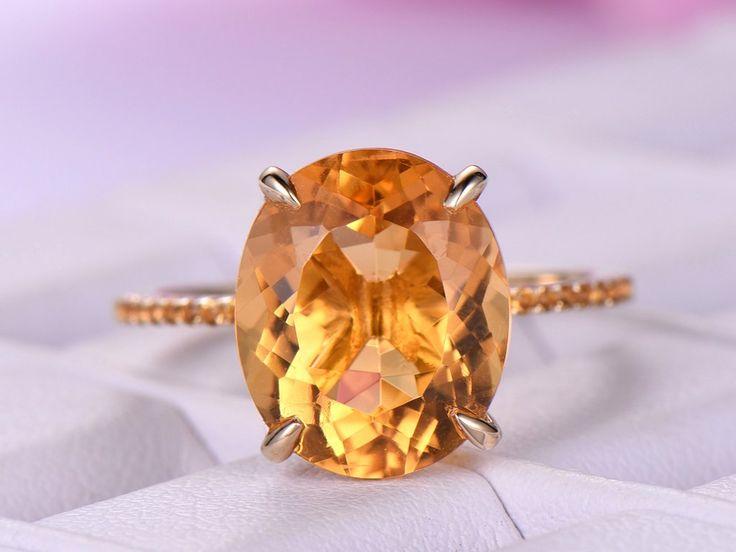 Oval Citrine Engagement Ring Pave Diamond Wedding 14K Yellow Gold 10x12mm