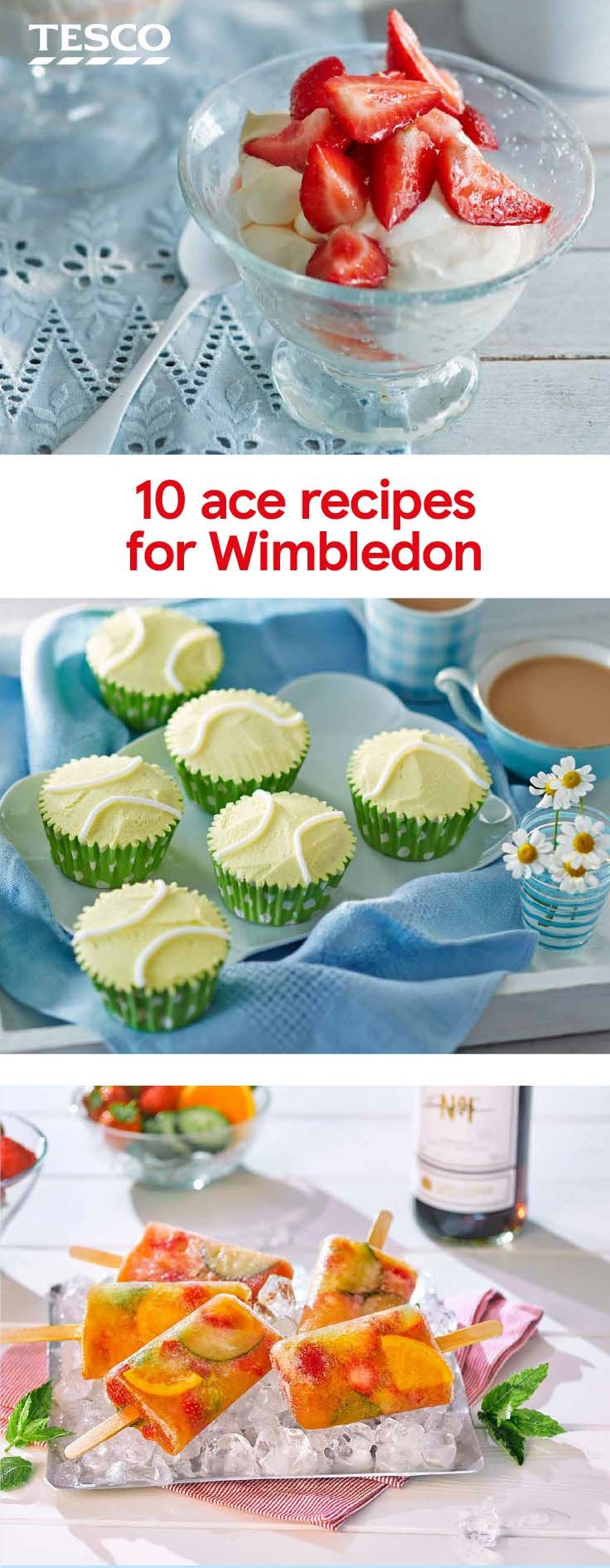 Celebrate the tennis in style - from a boozy Pimms ice lolly to a tennis ball cupcake recipe, we've got all the inspiration you need. | Tesco