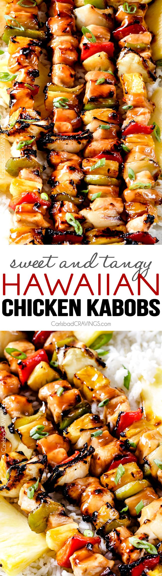 Grilled (or broiled) Hawaiian Chicken Kabobs - this is my new favorite grill recipe! the chicken is so juicy and flavorful and the sweet and tangy Hawaiian Sauce (that doubles as a marinade) is out of this world!: