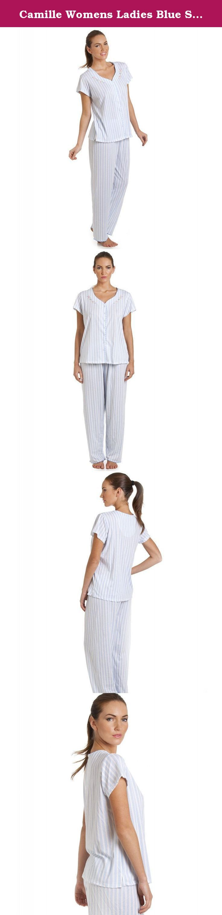 Camille Womens Ladies Blue Stripe Short Sleeve Pyjama Set 14/16 BLUE. Blue stripe pyjama set in a lightweight and breathable material. The v neck short sleeve top features a pretty embroidered flower design around the neckline. The bottoms are full length with an elasticated waist. Available in a choice of Lilac or Blue and in sizes 6-20. A pretty new range of lightweight pyjamas perfect for the Spring and Summer. Machine Washable .