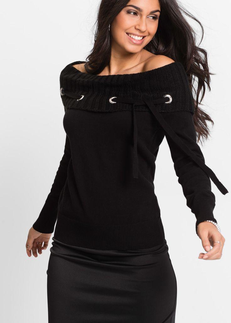Pullover Nero - BODYFLIRT è ordinabile nello shop on-line di bonprix.it da ? 25,99. Ampio collo risvoltato a coste decorato con occhielli metallici e ...