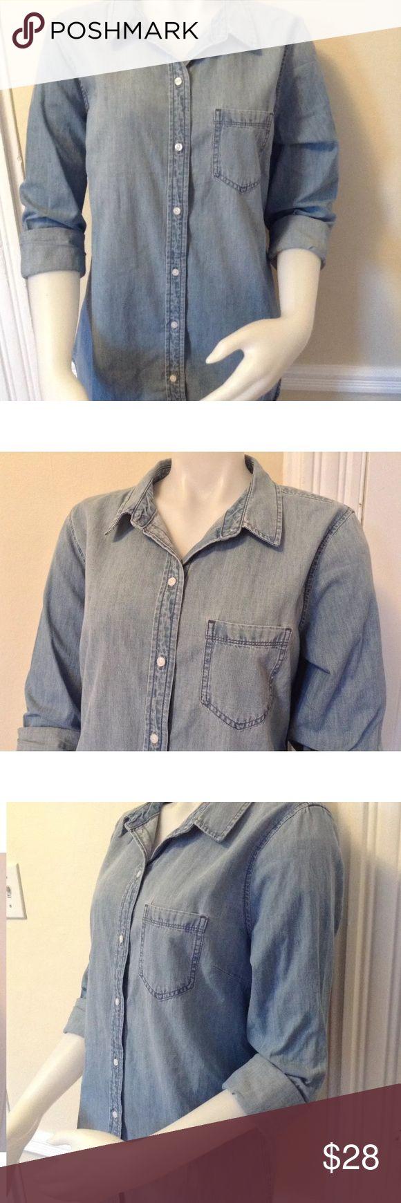 NWT Gap women's denim shirt  Large size Blue indigo GAP Tops Button Down Shirts