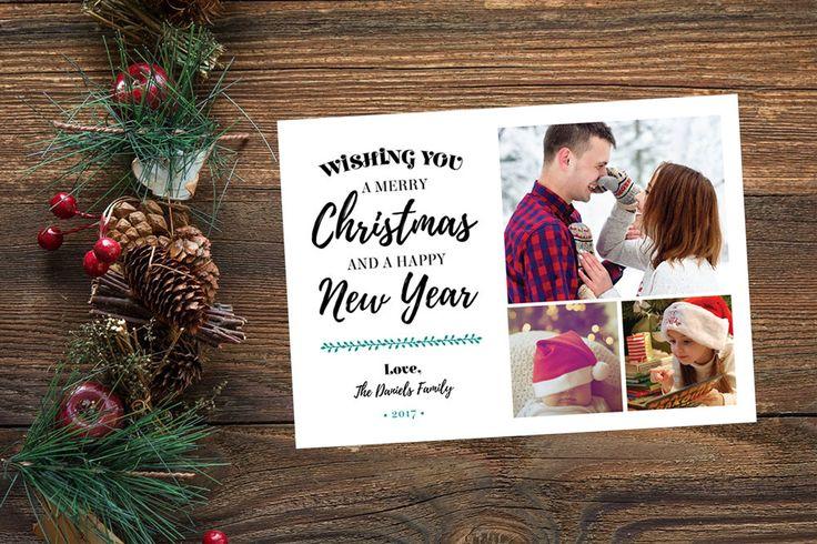 3 Photo Christmas Card, Custom Holiday Card, Family Christmas Card, Printable Christmas Card, Custom Photo Card, Merry Christmas Card 5x7 by yellowbellyproject on Etsy