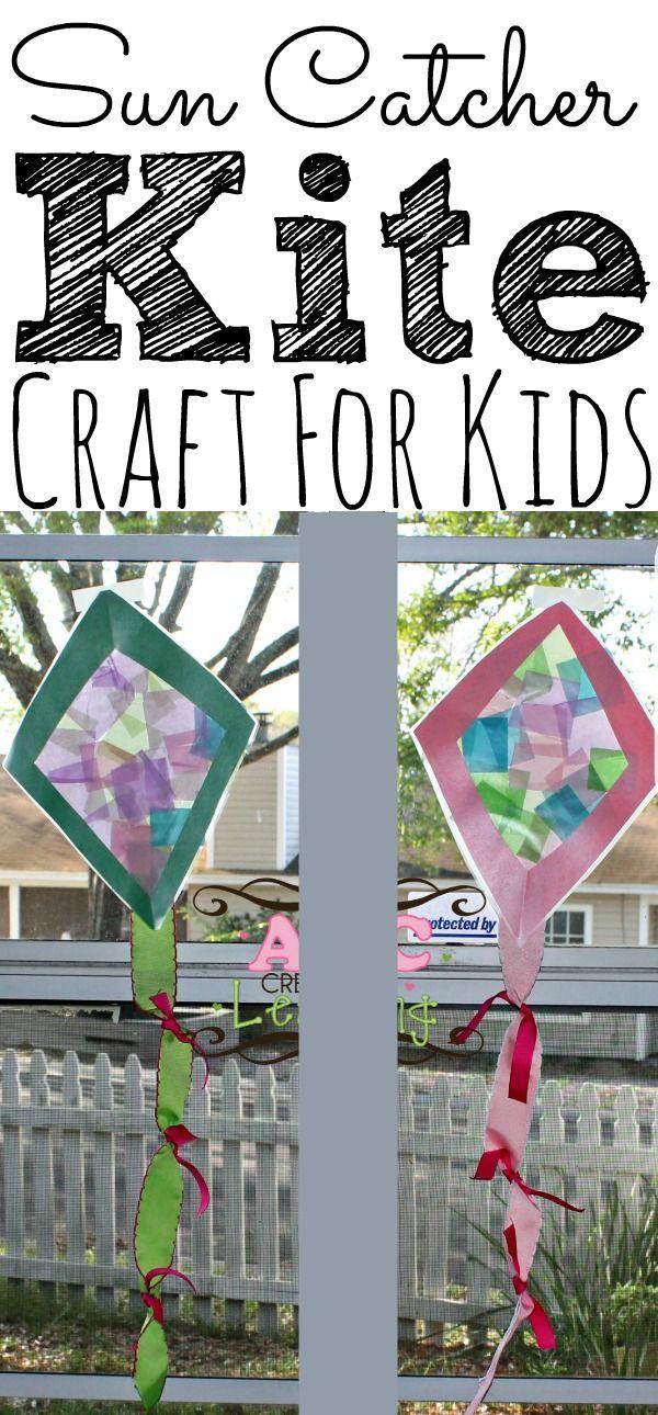 Sun Catcher Kite Craft perfekt für Frühling und Sommer. Es ist ein tolles Handwerk zu üben …   – Alphabet Crafts and Ideas