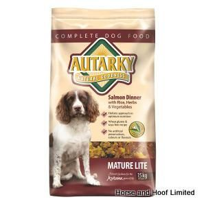 Autarky Salmon Mature Lite Dog Food 15kg Autarky Mature Lite Salmon Dog Food provides dogs with all of the nutrients that they need in a lower calorie package.