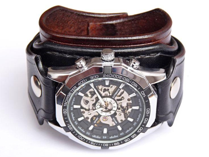 Antialergické+dámske+hodinky+steampunk+Hodinky+pre+ľudí+ktorí+majú+alergiu+na+kov.+Hodinky+neobsahujú+kovové+časti,+ktoré+prichádzajú+do+kontaktu+s+kožou+a+tak+sa+nemusíte+obávať+alergie+Náramok+je+vyrobený+z+pravej+kože+(+zákazková+výroba+)+Farba:+hědá+a+černá+Šírka:+5,5+cm+Hodinky+Winner+-+mechanické+bez+baterky,+hodinky+treba+naťahovať+Hodinky+vyrobím...