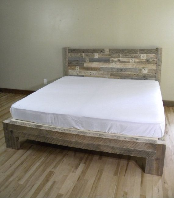 platform bed platform beds bed frame reclaimed wood rustic furniture bedroom decor bedroom furniture home decor wood bed frame - Reclaimed Wood Bed Frame