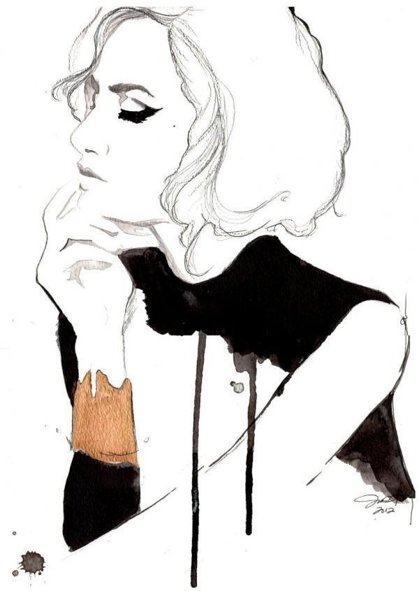 Beautiful watercolor fashion illustration by Jessica Durrant                                                                                                                                                                                 More