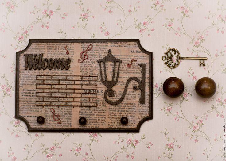 """Купить Ключница """" Добро пожаловать домой"""" - комбинированный, ключница, ключница в прихожую, дом, уют"""