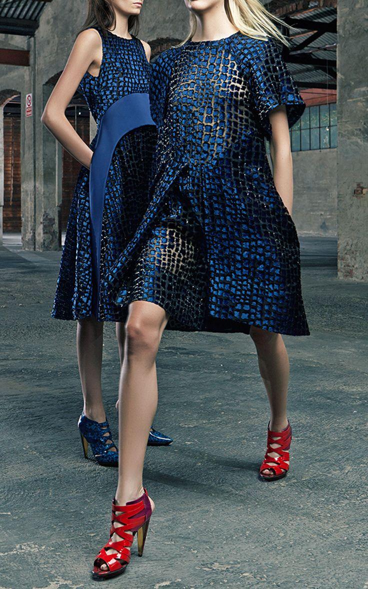 Marine Blue Devore Dress With Front Pleat by Antonio Berardi