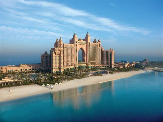 Sitting on the gorgeous sands of Palm Island, #Atlantis is an extremely lavish and grandiose hotel even by Dubai's impressive standards. We can't help but be awed by its size and extravagance. 700m of exclusive beach, 42 acres of Aquaventure Waterpark, 20 restaurants and bars, over 65,000 marine creatures in The Lost Chambers aquarium, 1,539 elegant rooms – and the numbers only tell part of the story.