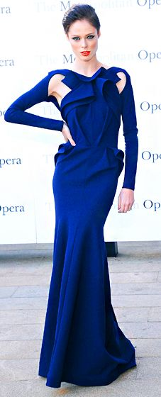 Coco Rocha rocked a navy long-sleeved gown by Greta Constantine at the Metropolitan Opera Season Opening.