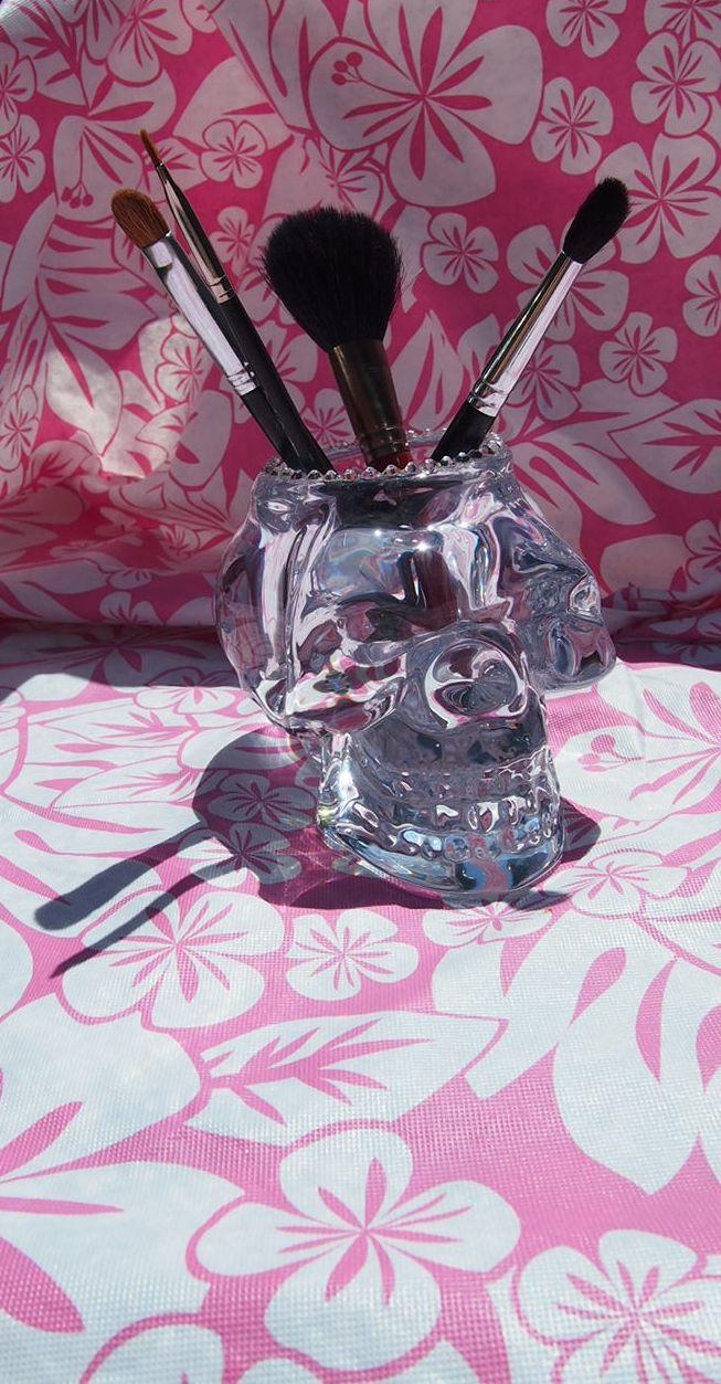 Crystal Glass Skull Make Up Brush Holder Tea Light Candle