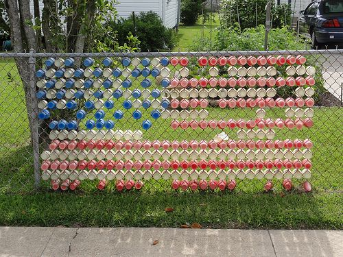 American Flag In Your Chain Fence For Independence Day. Cute Idea And  Learning Project For