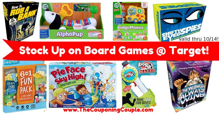 WOOHOO! Loving these prices on board games, and other games, great time to stock up for gift baskets, birthdays or Christmas! Stock Up on Board Games including Pie Face, Shifty Eyed Spies + MORE at Target!  Click the link below to get all of the details ► http://www.thecouponingcouple.com/stock-up-on-board-games-including-pie-face-shifty-eyed-spies-more-at-target/ #Coupons #Couponing #CouponCommunity  Visit us at http://www.thecouponingcouple.com for more great posts