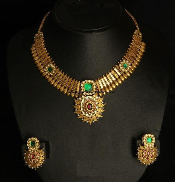 Latest Designer Antique Necklace set with Kundans looks so elegant | Latest Indian Jewellery Designs