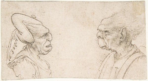 Attributed to Giovanni Francesco Melzi (Italian, 1491/93–ca. 1570). After Leonardo da Vinci (Italian, 1452–1519). A Grotesque Couple: Old Woman with an Elaborate Headdress and Old Man with Large Ears and Lacking a Chin, 1491/93–1570. The Metropolitan Museum of Art, New York. Gift of Mrs. Edward Fowles, in memory of Edward Fowles, 1975 (1975.96) #halloween