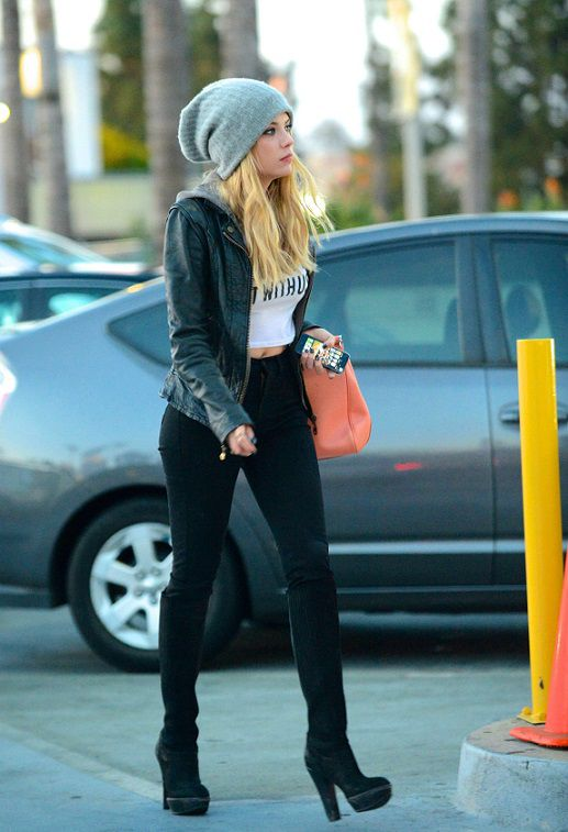Ashley Benson Leather Jacket Crop Top High Waisted