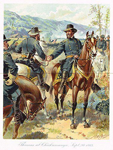Ogden's History -Civil War - Thomas At Chickamauga - Chromolithograph - 1899
