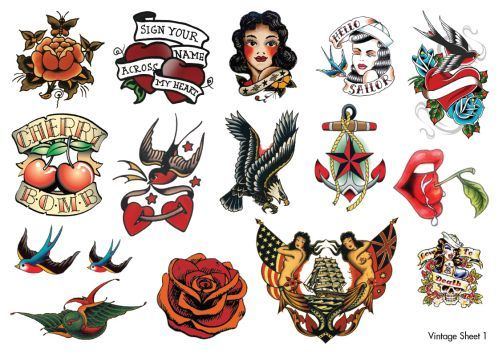 Website with great vintage fake tattoos, and shine remover to make them look real after application.