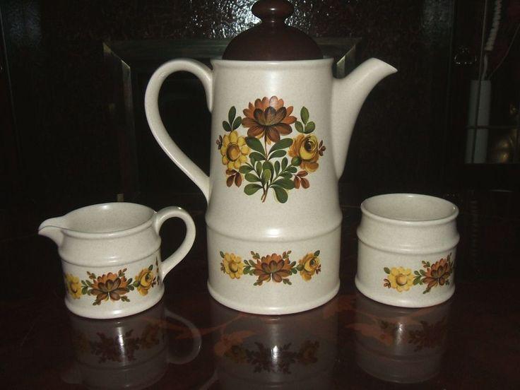 Coffee Pot Set Farmhouse Cottage Style Floral Design Retro #ebaysales #vintage #coffee